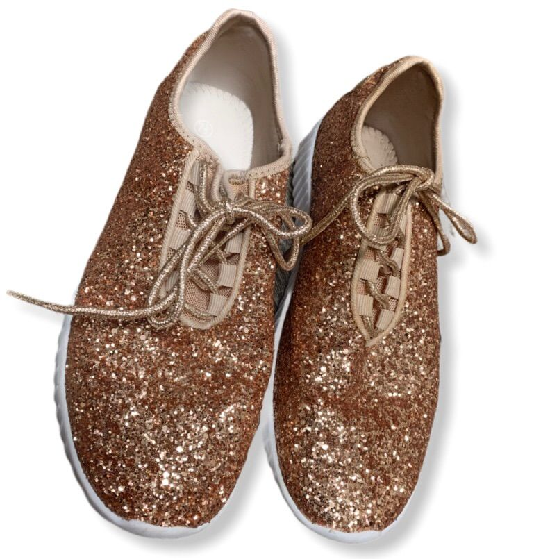 Rose Gold Glitter Sparkle Lace-Up Shoes Size 7.5never Worn - Just Tried Onexcellent Condition