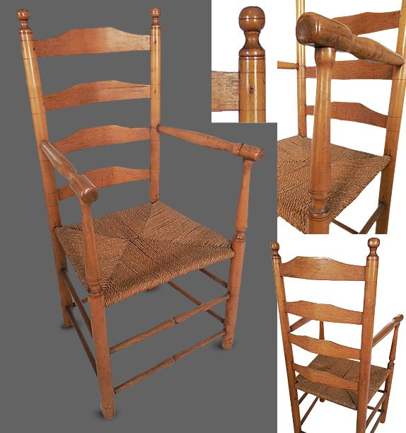 Ate 18th Century American Maple Ladder Back Arm Chair With