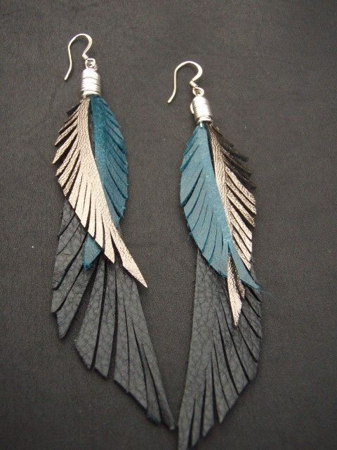 Photo of Leather Feather Earrings – blue black and gold long earrings
