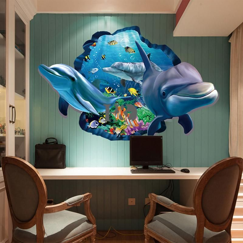 PVC Dolphin Sea Scenes Window Removable Wall Sticker in ...