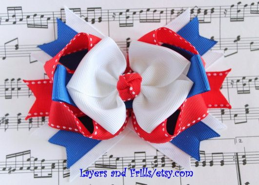 4th of July Hair bow Red White and Blue Bow by LayersandFrills, $10.00