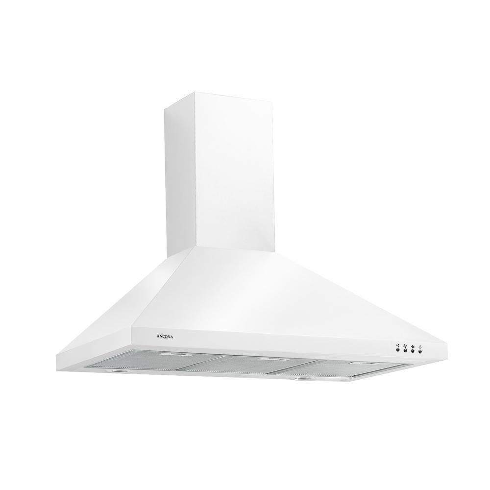 Ancona Wppw430 30 In Wall Mounted Convertible Range Hood In White An 1184 Wall Mount Range Hood Range Hood Led Light Design