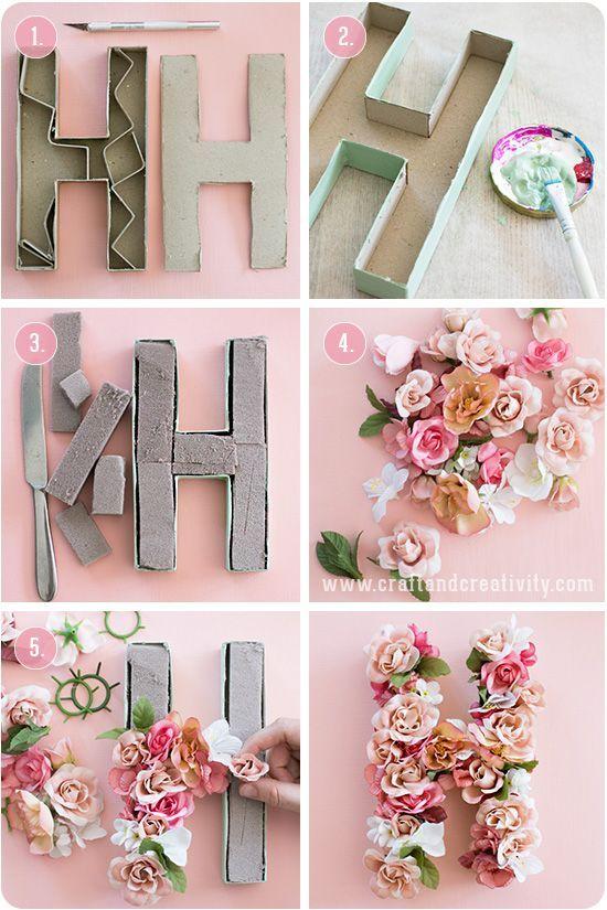 Buchstaben aus Blüten ganz einfach selbst basteln
