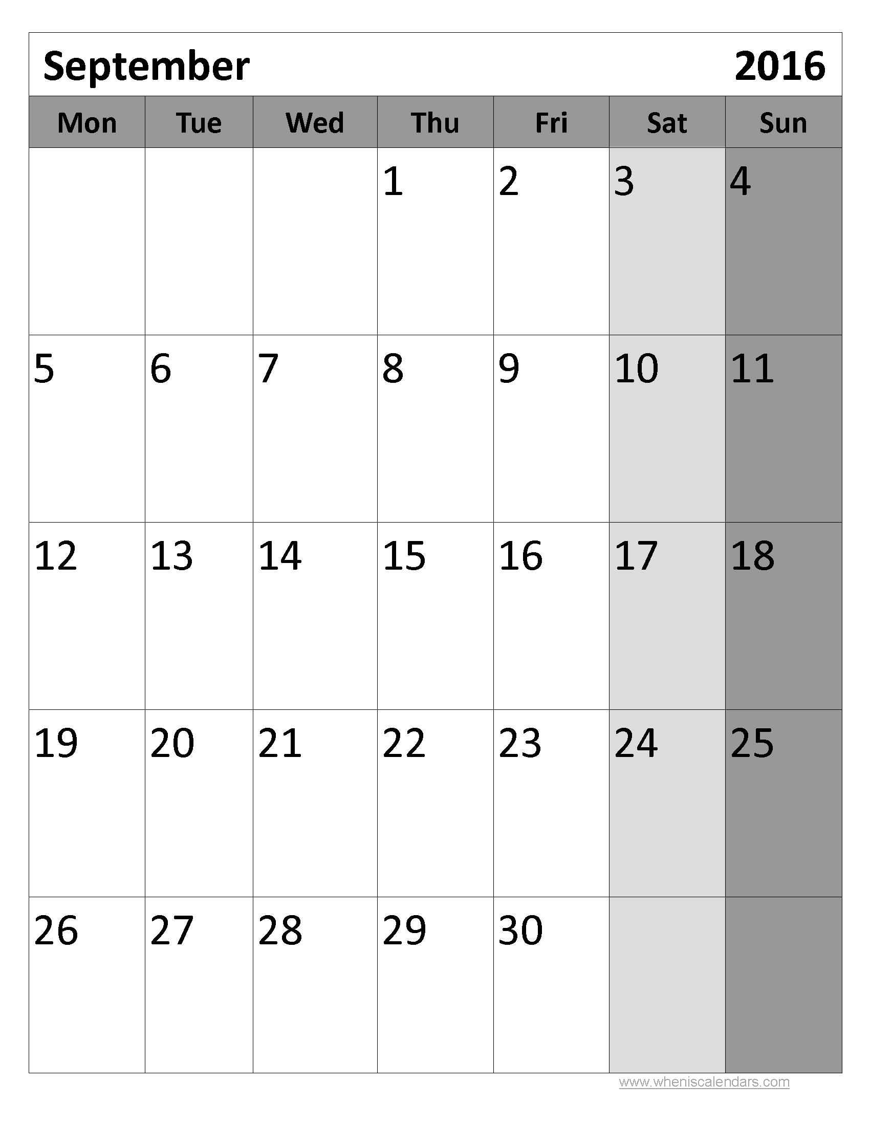 september 2016 calendar pdf september month pinterest 2016