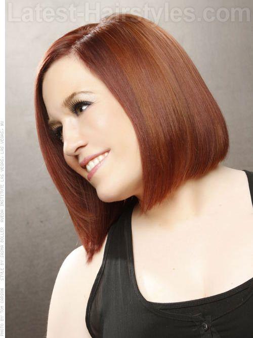Smooth Shiny Longer Auburn Bob Short Haircut | Hairstyles ...