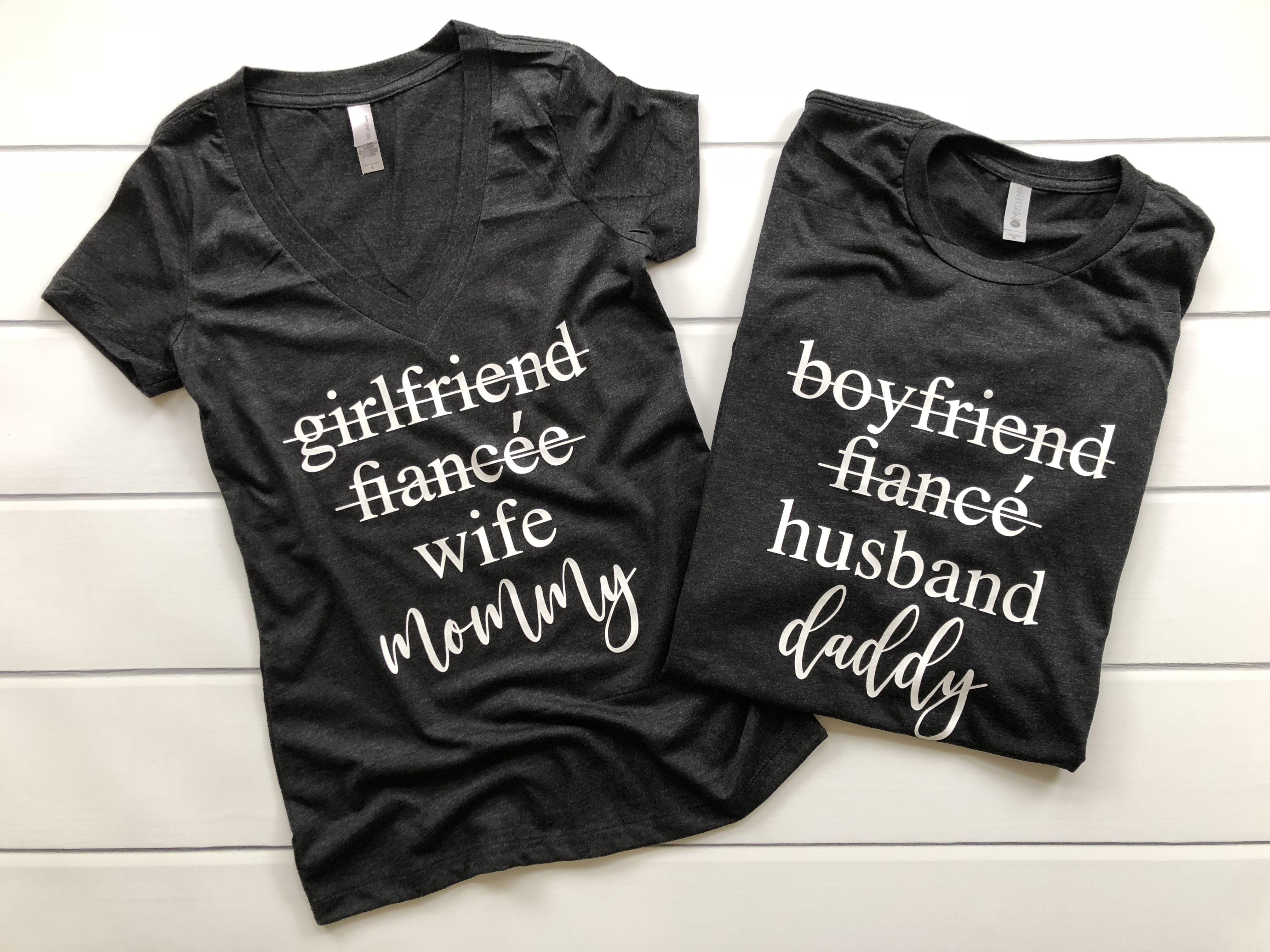 e89789e6 Girlfriend/Boyfriend to Mommy/Daddy | Pregnancy Announcement Duo, pregnancy  announcement shirts, couples pregnancy announcement shirt, cute ways to  announce ...