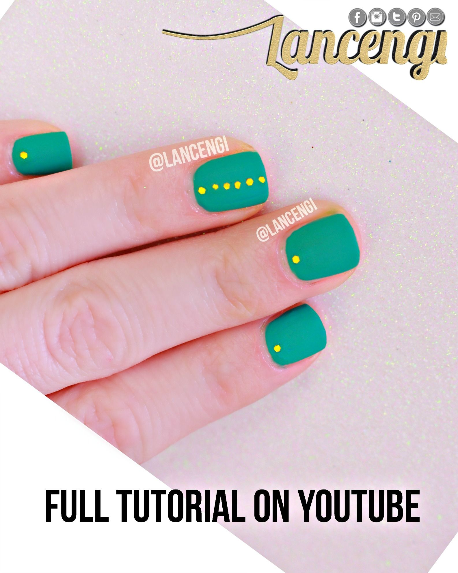 Easy Nail Art For Beginners with Short Nails: Green and Gold Glitter ...