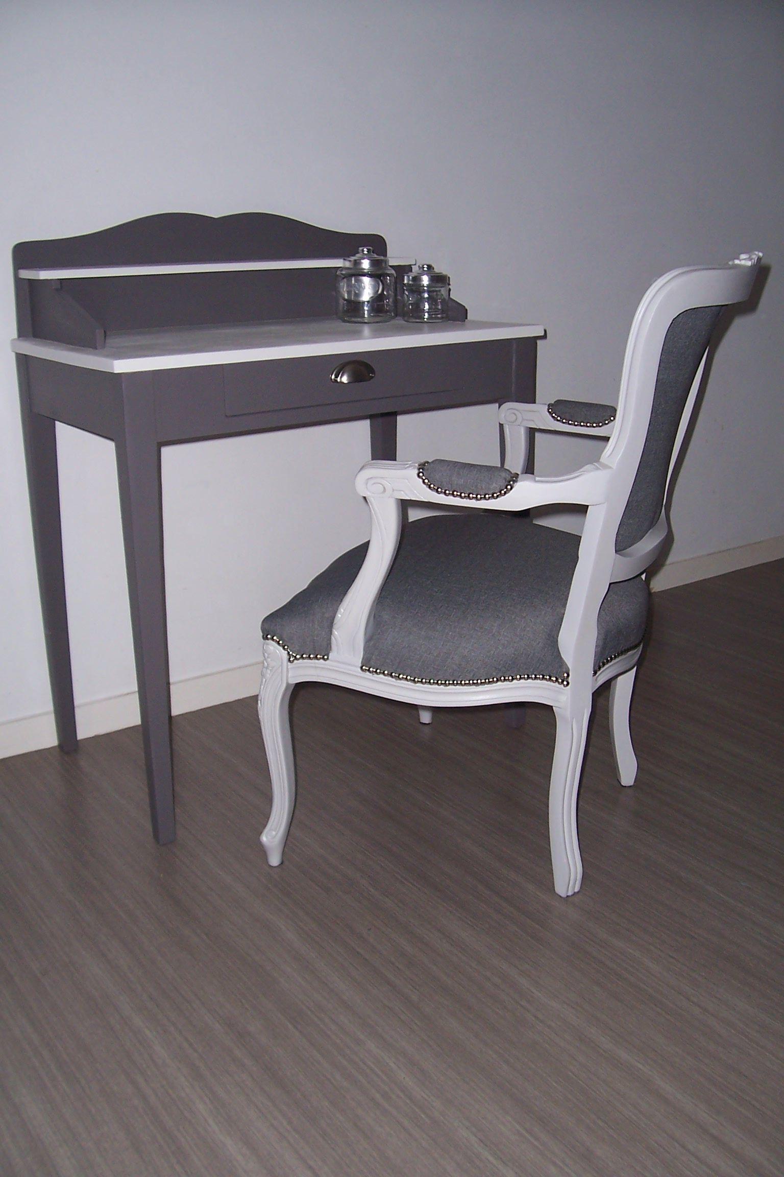 secr taire relook en gris fonc e et blanc lin par ajh d co bureaux secr taires et coiffeuses. Black Bedroom Furniture Sets. Home Design Ideas