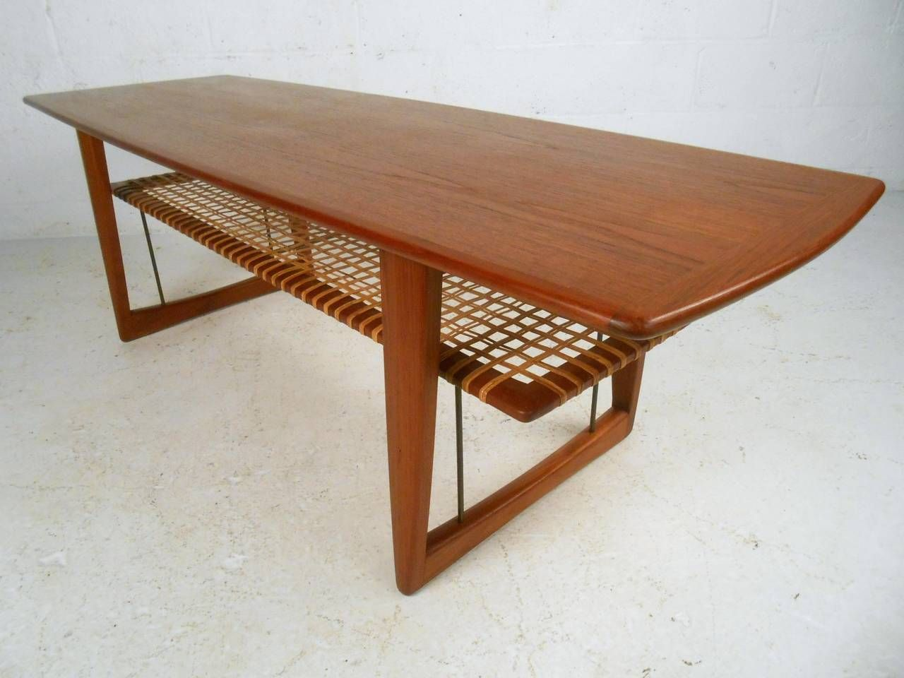 Mid Century Danish Teak Cane Shelf Coffee Table In The Style Of