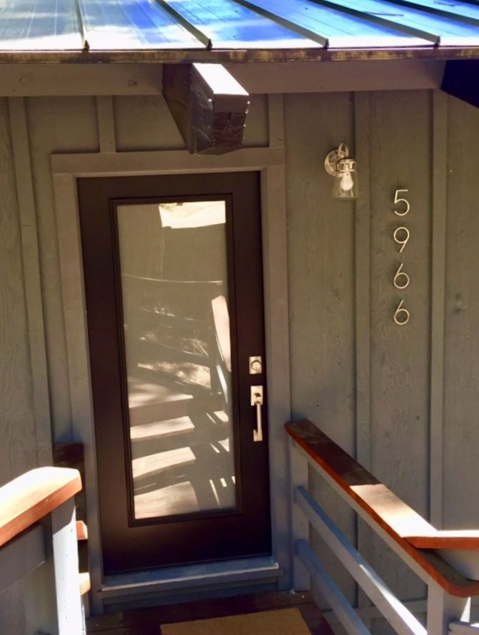 New front door house numbers and light fixture lake tahoe home ideas homes also rh pinterest