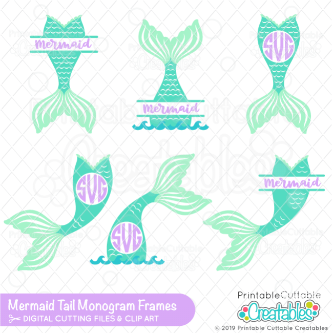 Mermaid Tail Monogram SVG Frame Bundle for Cricut