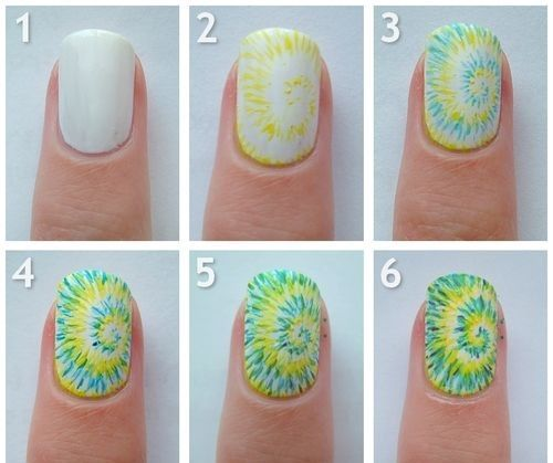 Nail Art Tutorial One Tie Dye Nail And Then All The Others Are