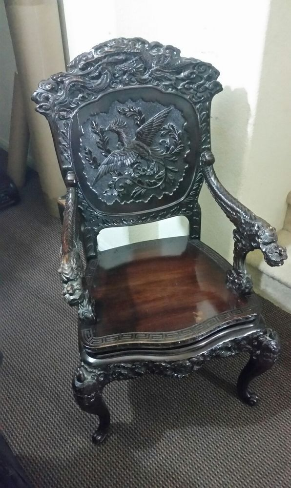 Antique Chinese Dragon Chair 1800's Hand Carved Rosewood RARE (SALE) - Antique Chinese Dragon Chair 1800's Hand Carved Rosewood RARE
