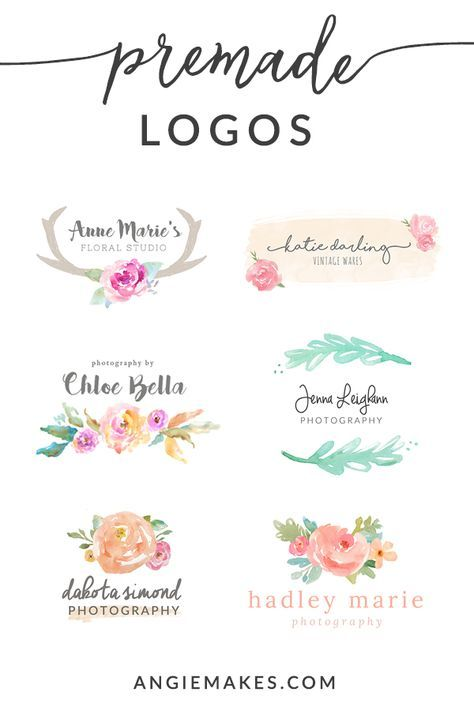 Tons Of Girly Cute Watercolor Logos With Modern Fonts