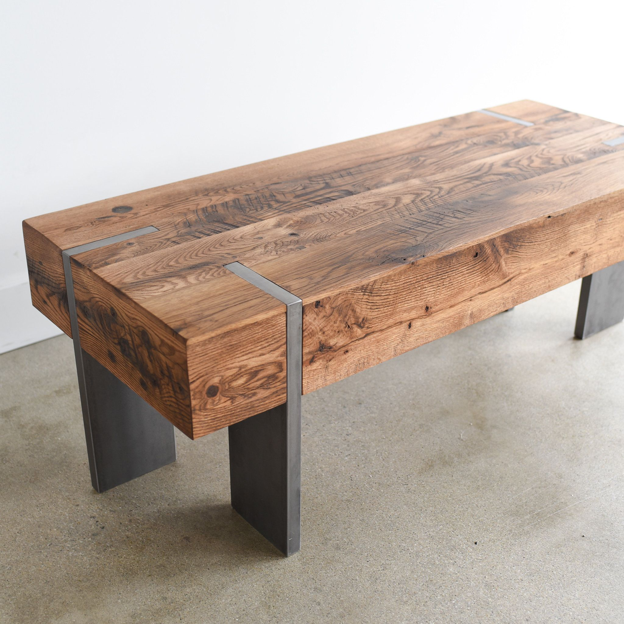 Modern Coffee Table / Reclaimed Wood Rectangle Cocktail Table with Solid Steel Legs