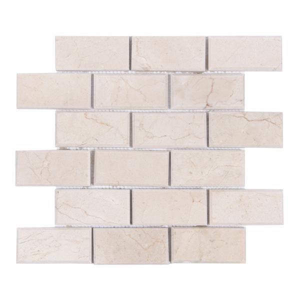 Crema Marfil Beige Stone Subway Tile 2x4 Beveled Edge Polished