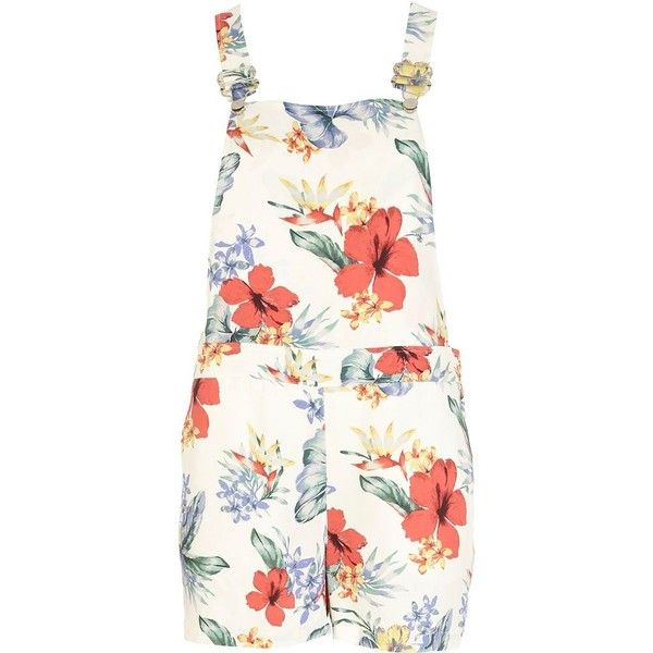 River Island Cream Tropical Print Dungaree Shorts 20 Liked On