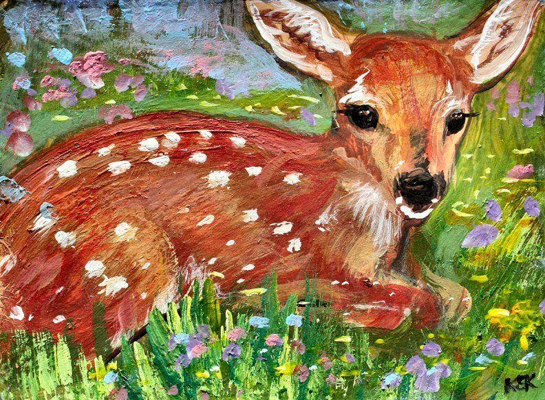ORIGINAL ACEO PAINTING SPRING FAWN Deer DOE Buck Wildlife Flowers ATC mini ART  #Realism