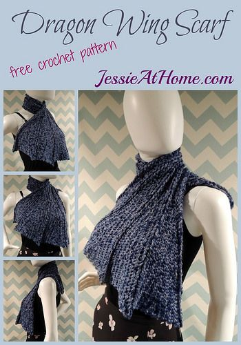 Crochet dragon wing scarf free #crochet pattern @jessie_athome ...