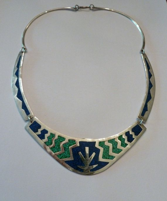 Vintage Alpaca Mexican Lapis and Malachite Inlay Necklace Bib Choker  Mexico Jewelry Boho Trbal Spring Summer on Etsy, $36.00