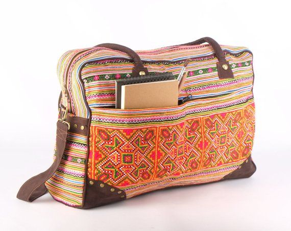Large Overnight Weekender Travel Bag Ethnic Embroidered 32674bd59e898