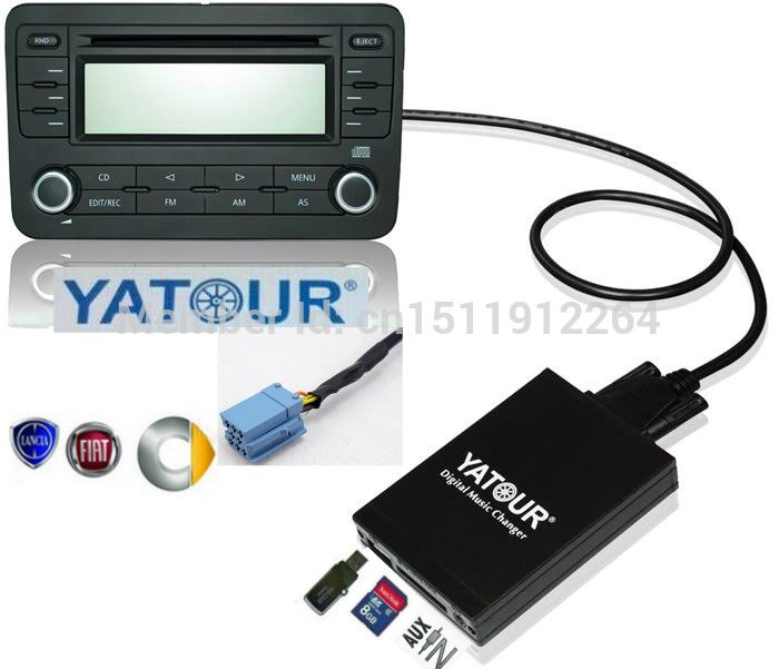 YATOUR digital music changer Car MP3 AUX Bluetooth for Smart 450 Lybra Fiat Bravo Marea 8-Pin Grundig Stereo Adapter