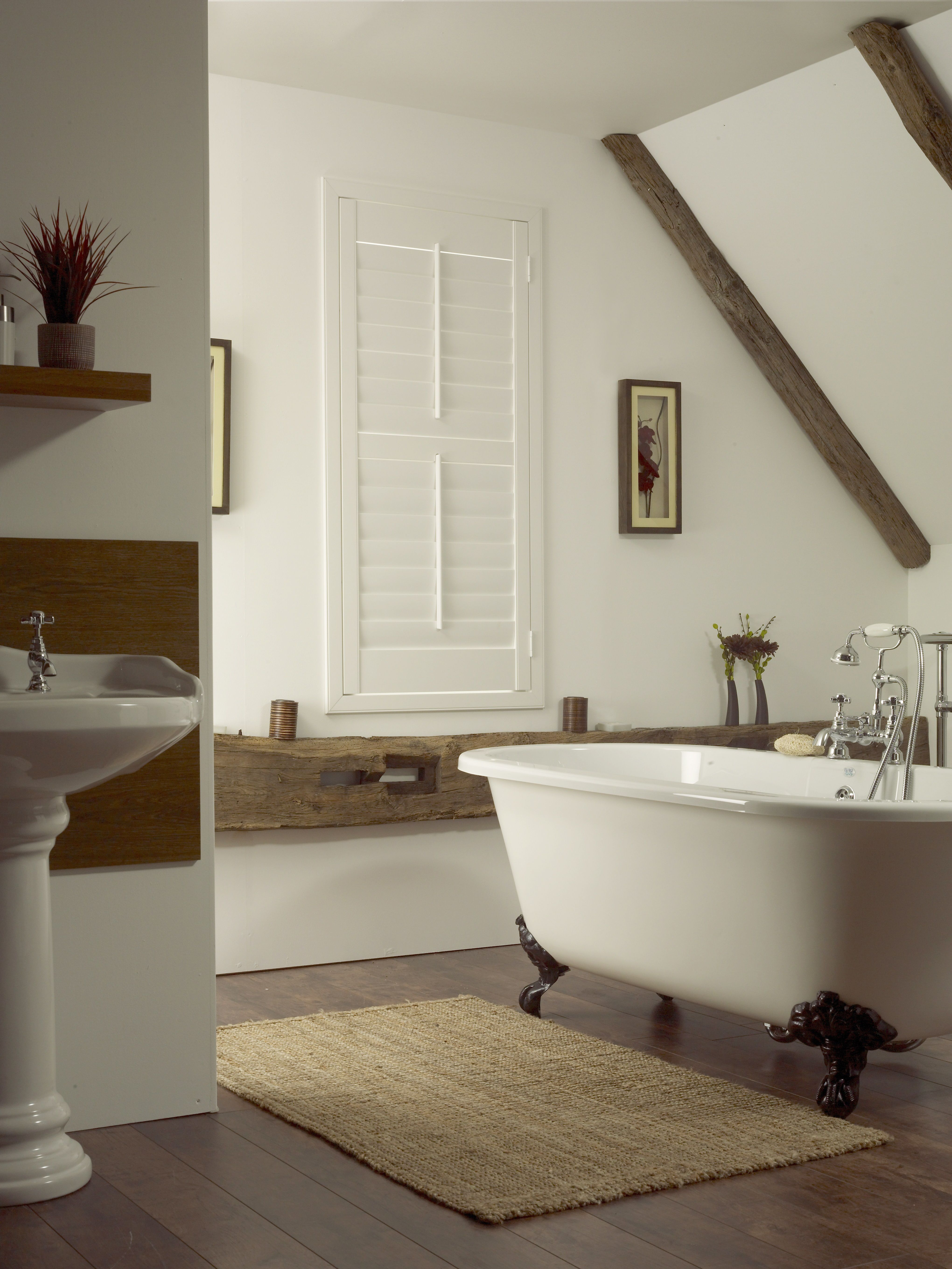 White Bathroom Shutters by Apollo Blinds. Modern window dressing ...