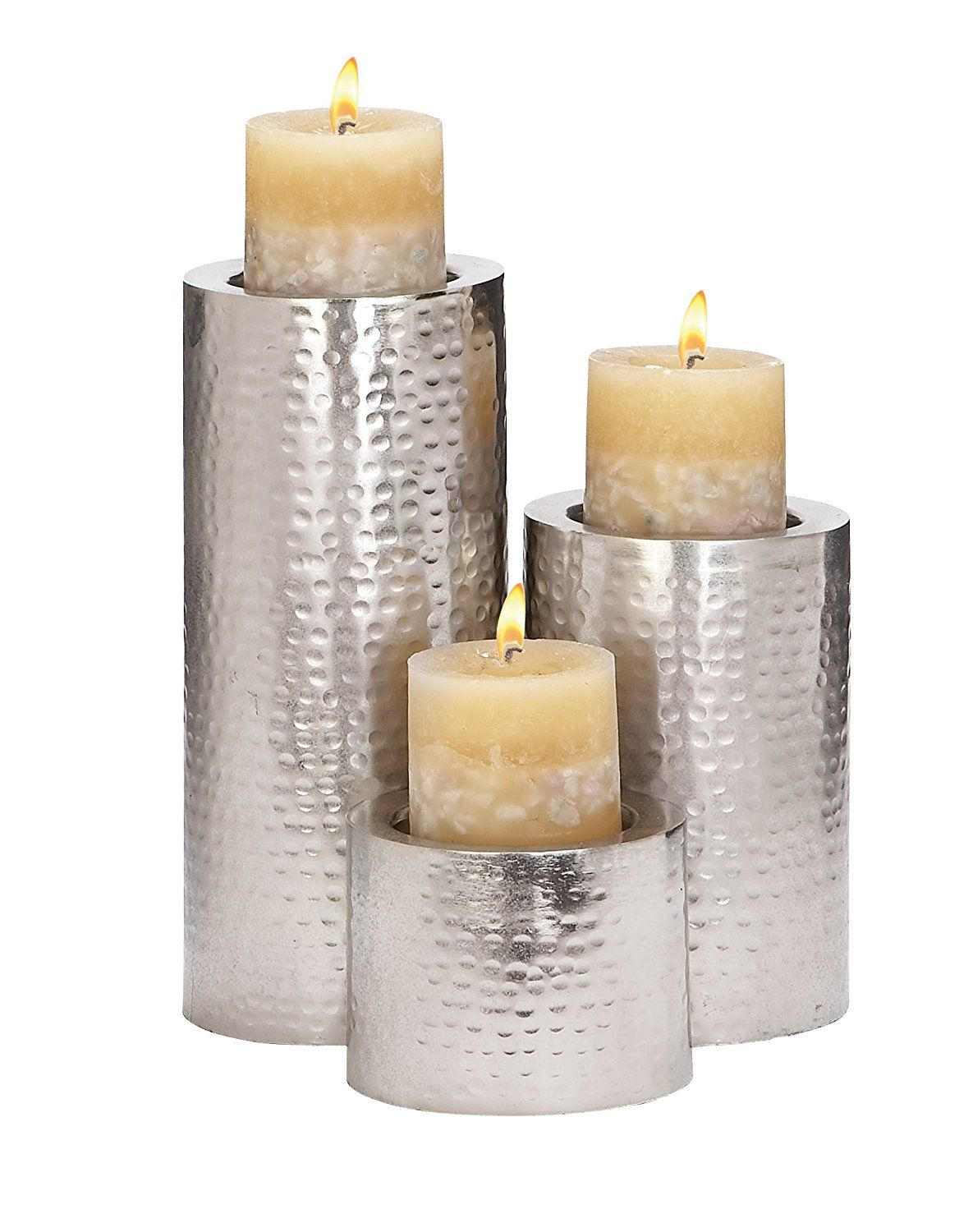 Deco metal candle holder by by inch stainless steel set