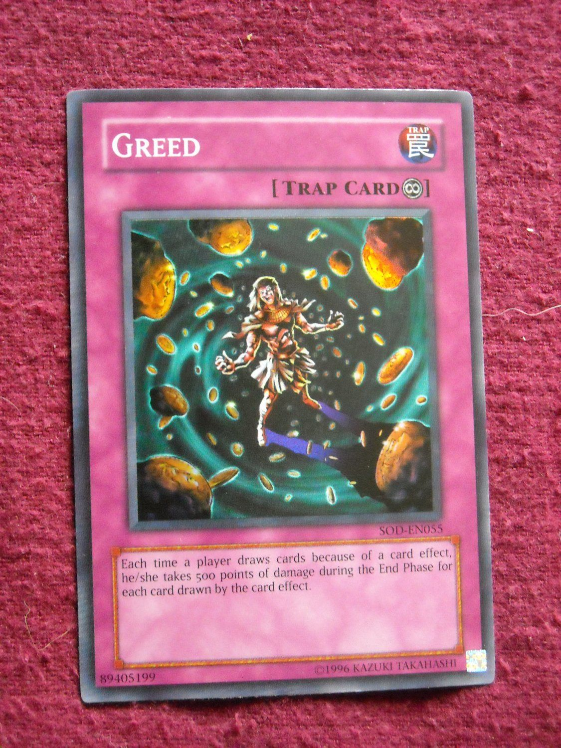 yu gi oh trading card greed type trap trap type continuous