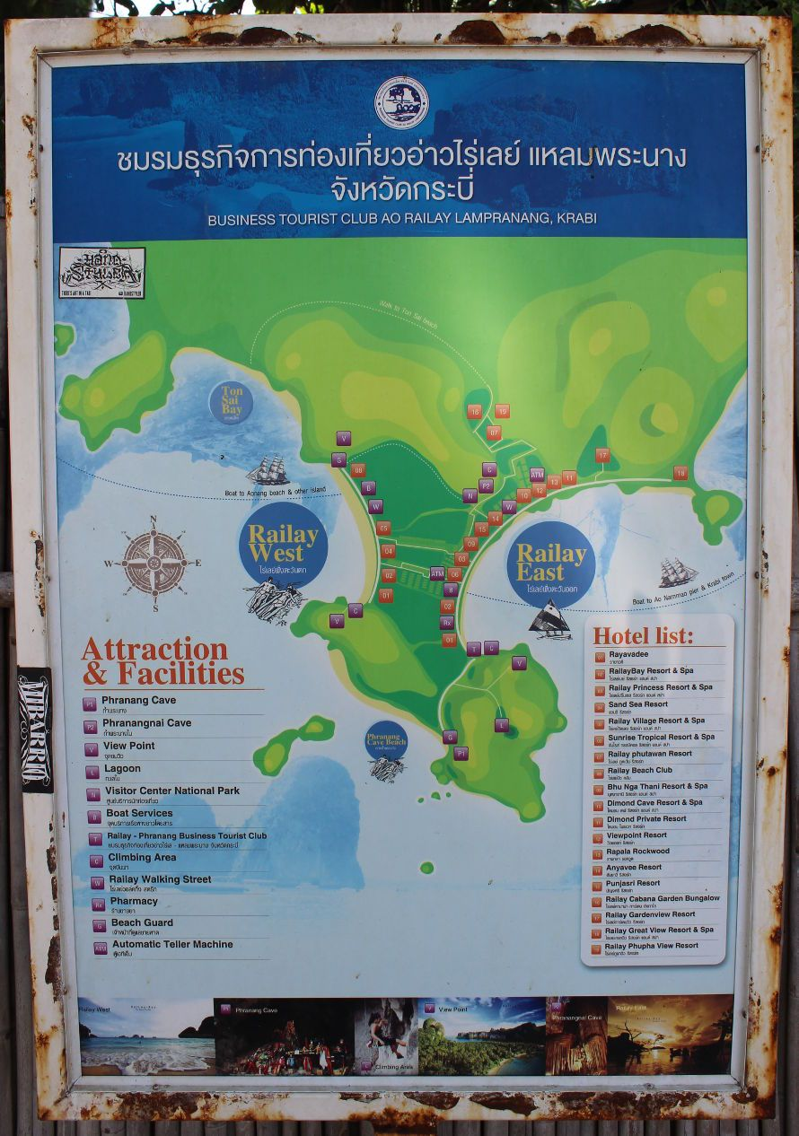 Carte Map De Railay Beach En Thailande