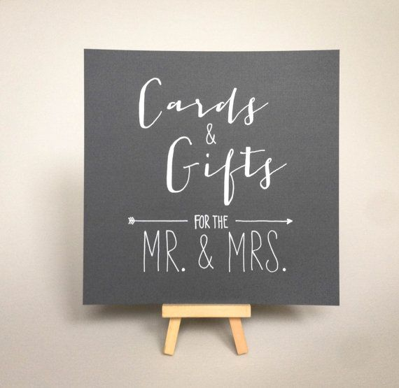 Gift Table At Wedding Reception: Wedding Card And Gift Table Sign, Ink-Drawn Rustic Kraft