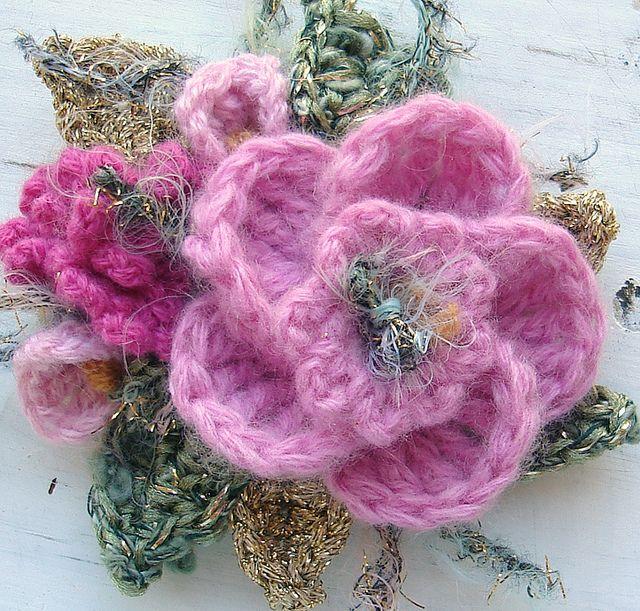 Crochet Brooch Pink Glitz by meekssandygirl, via Flickr