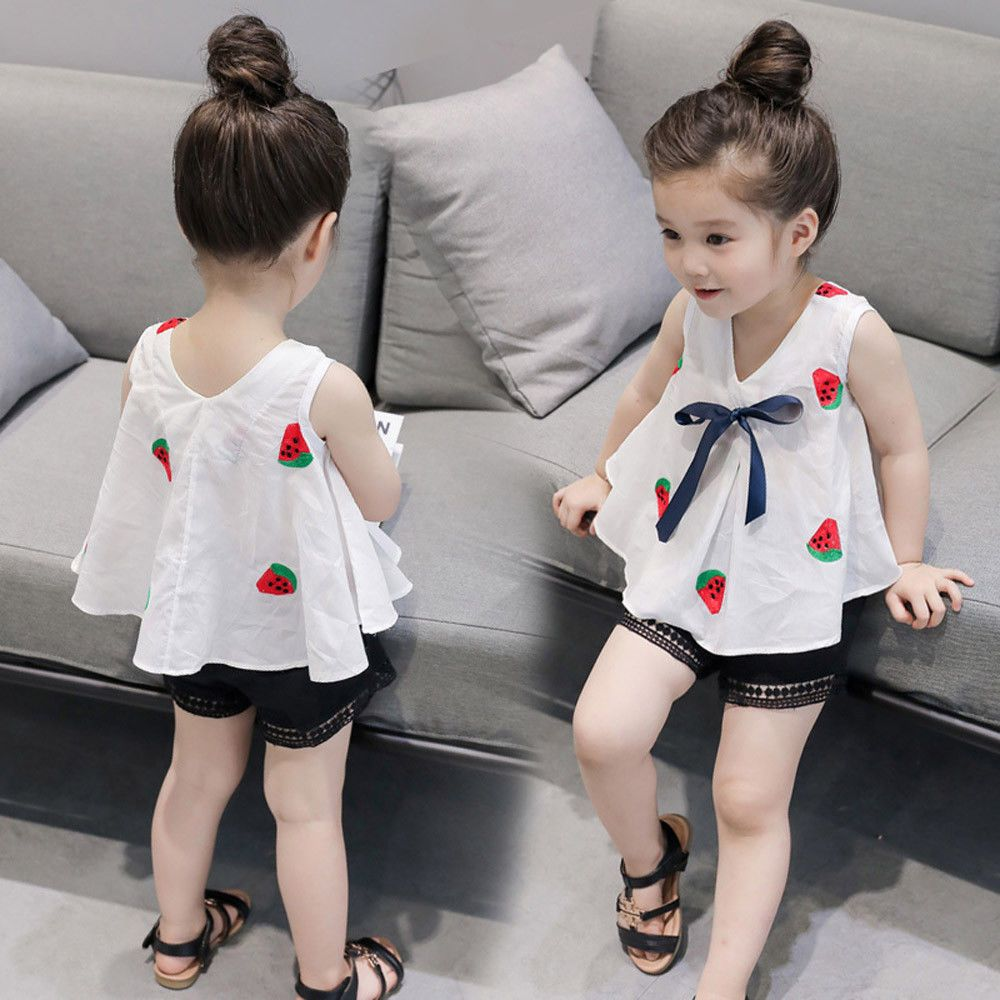 Toddler Baby Girl Floral Print Short Sleeve Blouse Top+Solid Short Skirt 2PCS Set Clothes Outfits