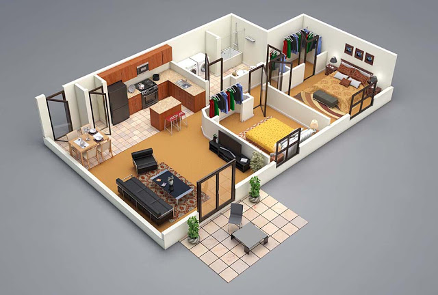 Top 10 Modern 3d Small Home Plans Everyone Will Like Acha Homes 3d House Plans Small House Plans Two Bedroom House