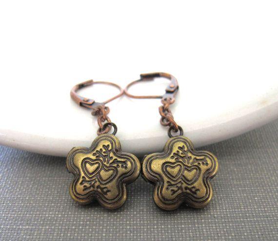 Flower Earrings Locket Earrings Brass Flowers Heart by fiveforty, $18.00