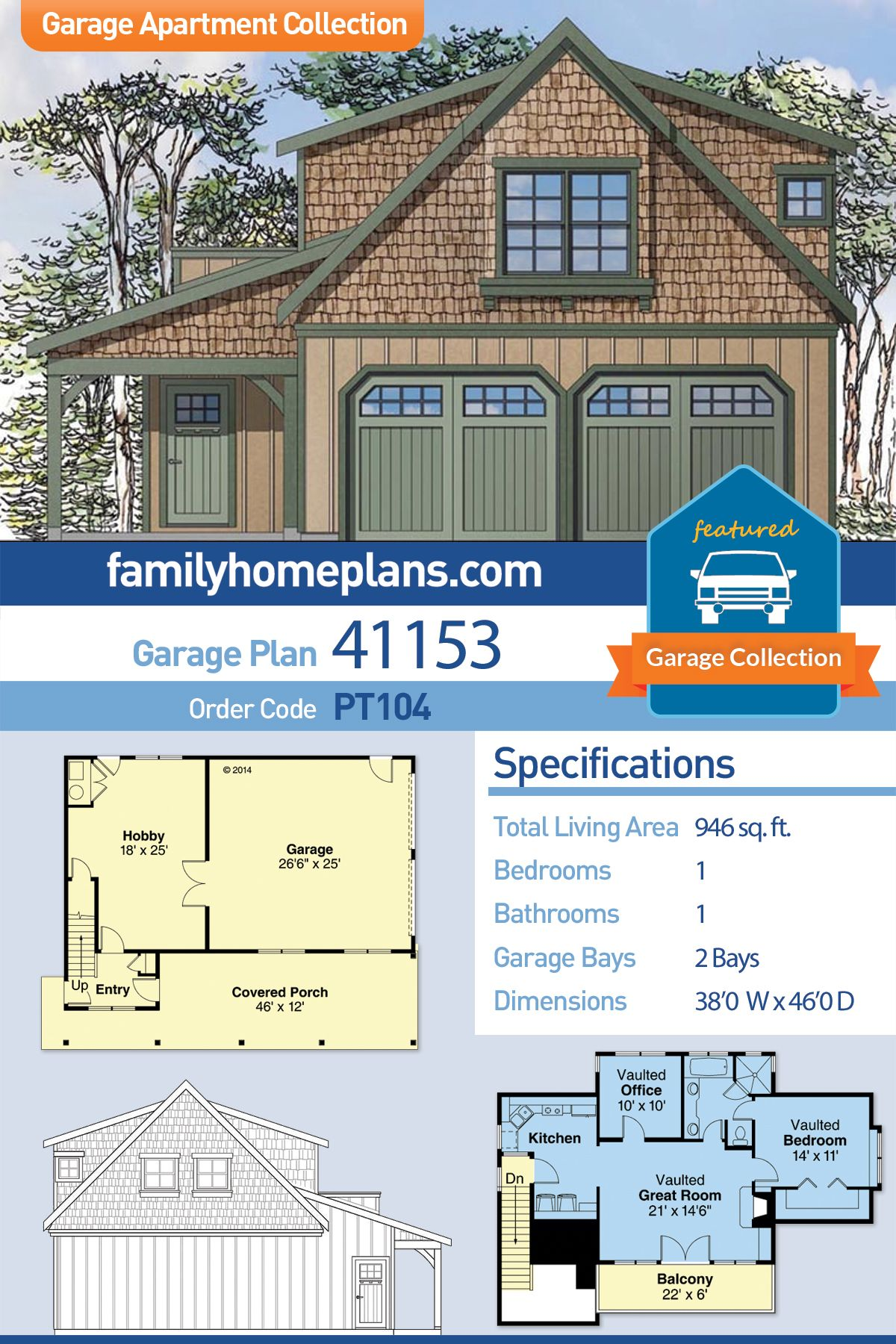 European Style 2 Car Garage Apartment Plan Number 41153 With 1 Bed 1 Bath Carriage House Plans Garage Apartments Garage Apartment Plans