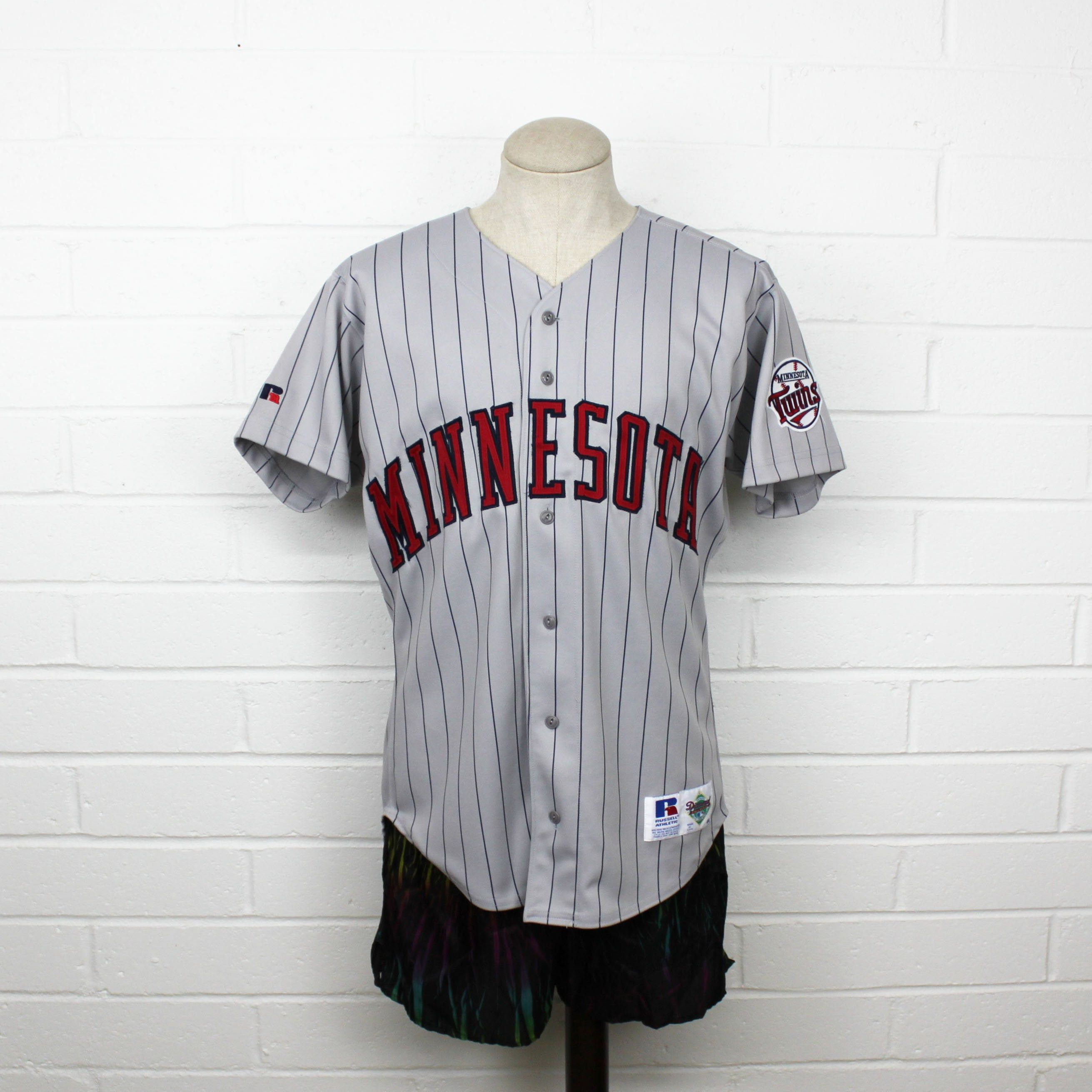 Vintage 90s Minnesota Twins Baseball Jersey Grey Size 44 Pinstripe Large Patch Stitched Mlb Logo Button Minnesota Twins Baseball Twins Baseball Minnesota Twins
