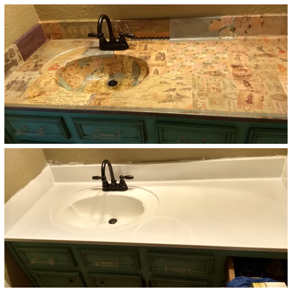 How To Remove Decoupage From A Sink And Countertop Mack Packing Cheap Renovations Cheap Remodel Countertops