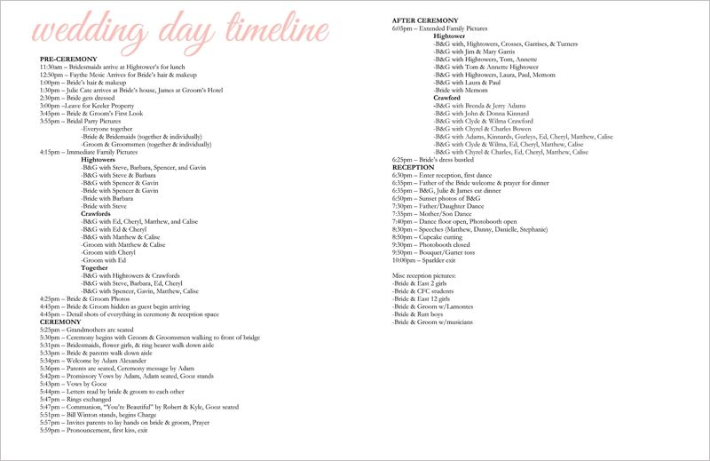 Example of wedding day timeline Wedding Wednesday Wedding Day - sample timeline
