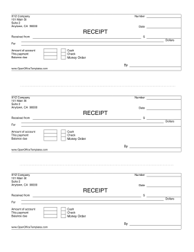 3 Up Payment Receipts Openoffice Template Openoffice Templates Receipts Templates