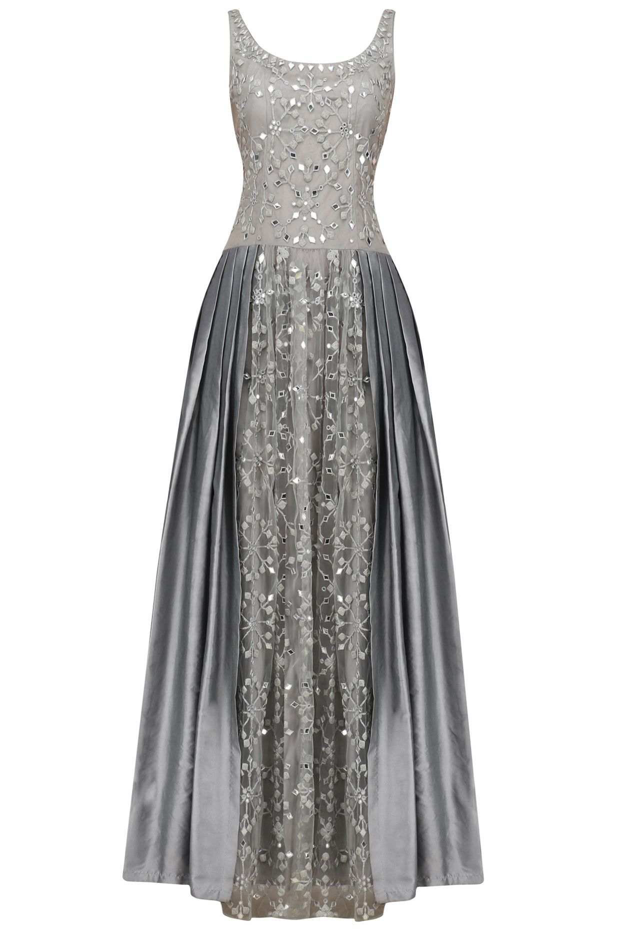Grey mirror and dori embroidered gown