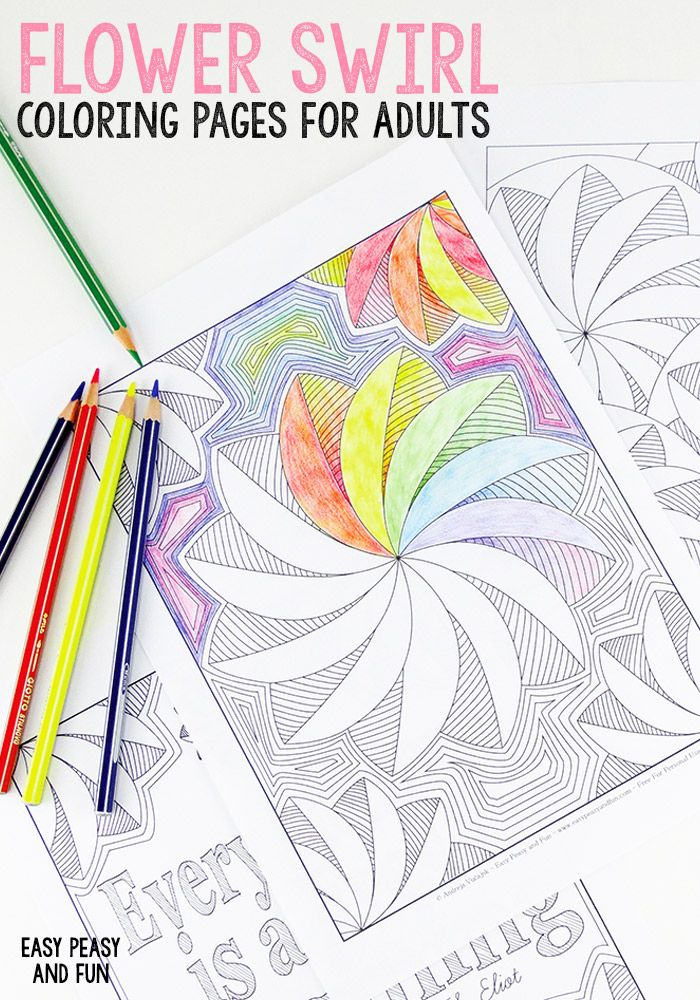 3 Flower Swirl Coloring Pages For Adults Coloring Pages Free