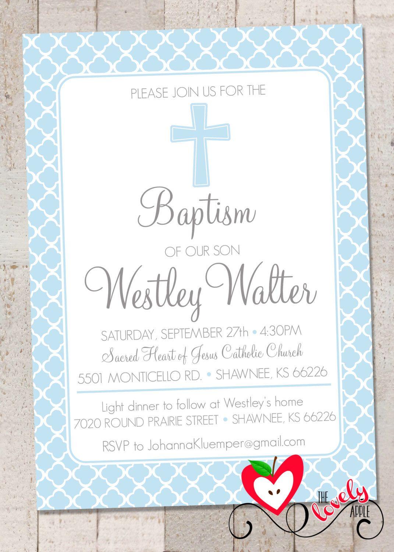 Baptism (Boy) Invitation, Printable Baptism/Christening/Baby ...
