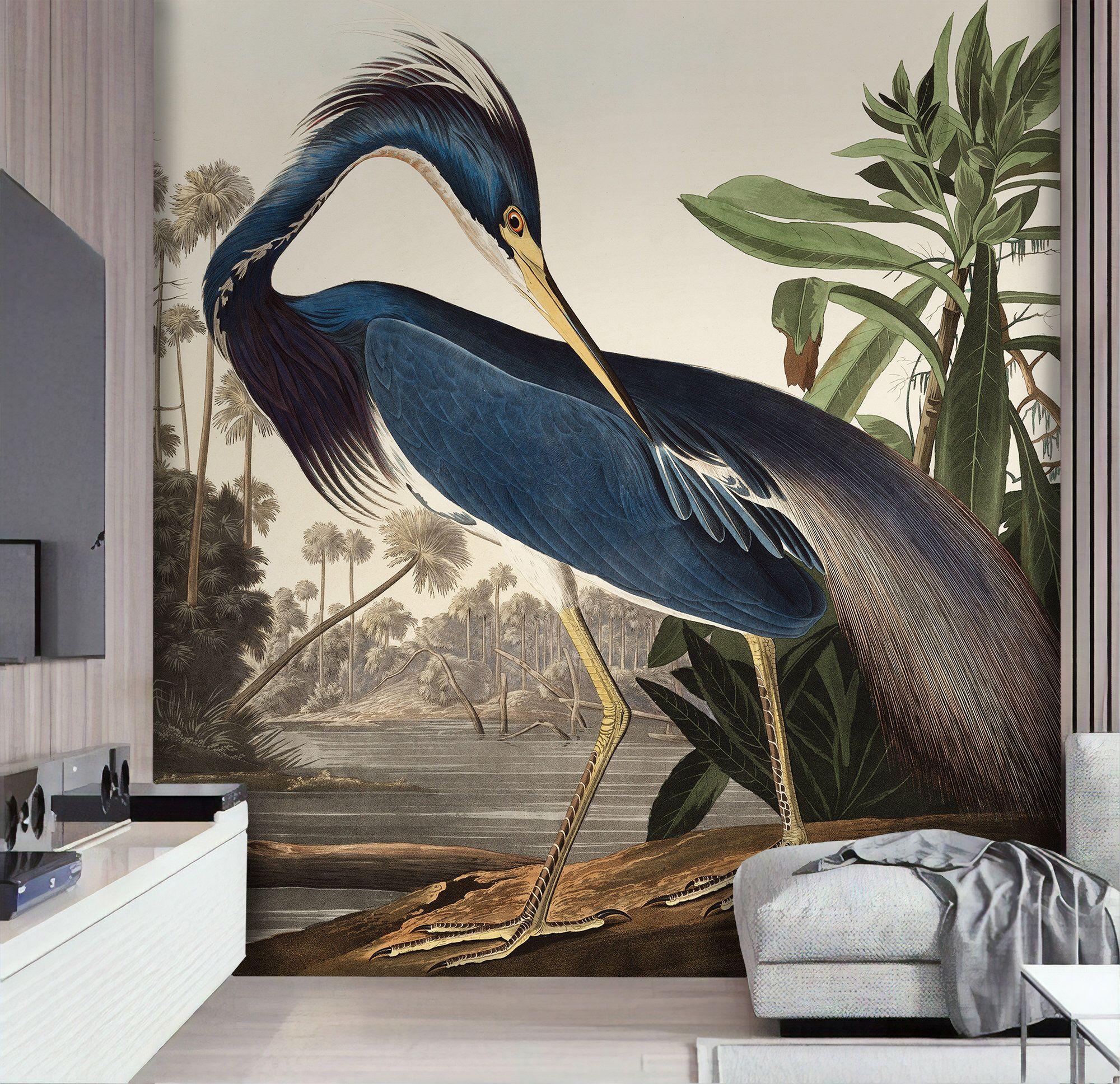Wild Blue Heron Wallpaper Natural Landscape Wall Mural