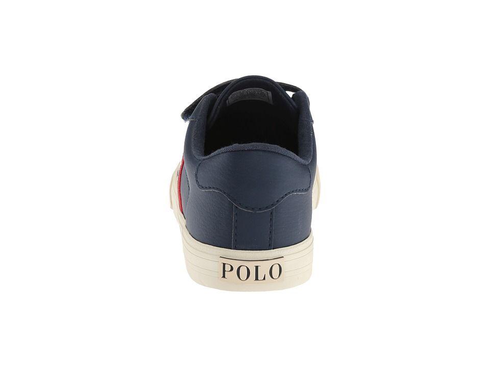 7f40b0a1a Polo Ralph Lauren Kids Geoff EZ (Little Kid) Boy's Shoes Navy Tumbled/Navy/Red/Cream  PP
