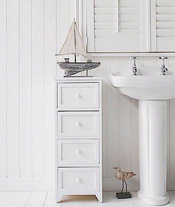 White 4 Drawer Freestanding Bathroom Storage Unit
