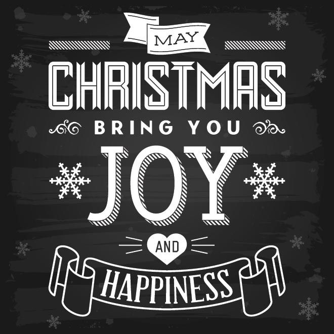 Free vector christmas bring you joy and happiness Chalkboard typography