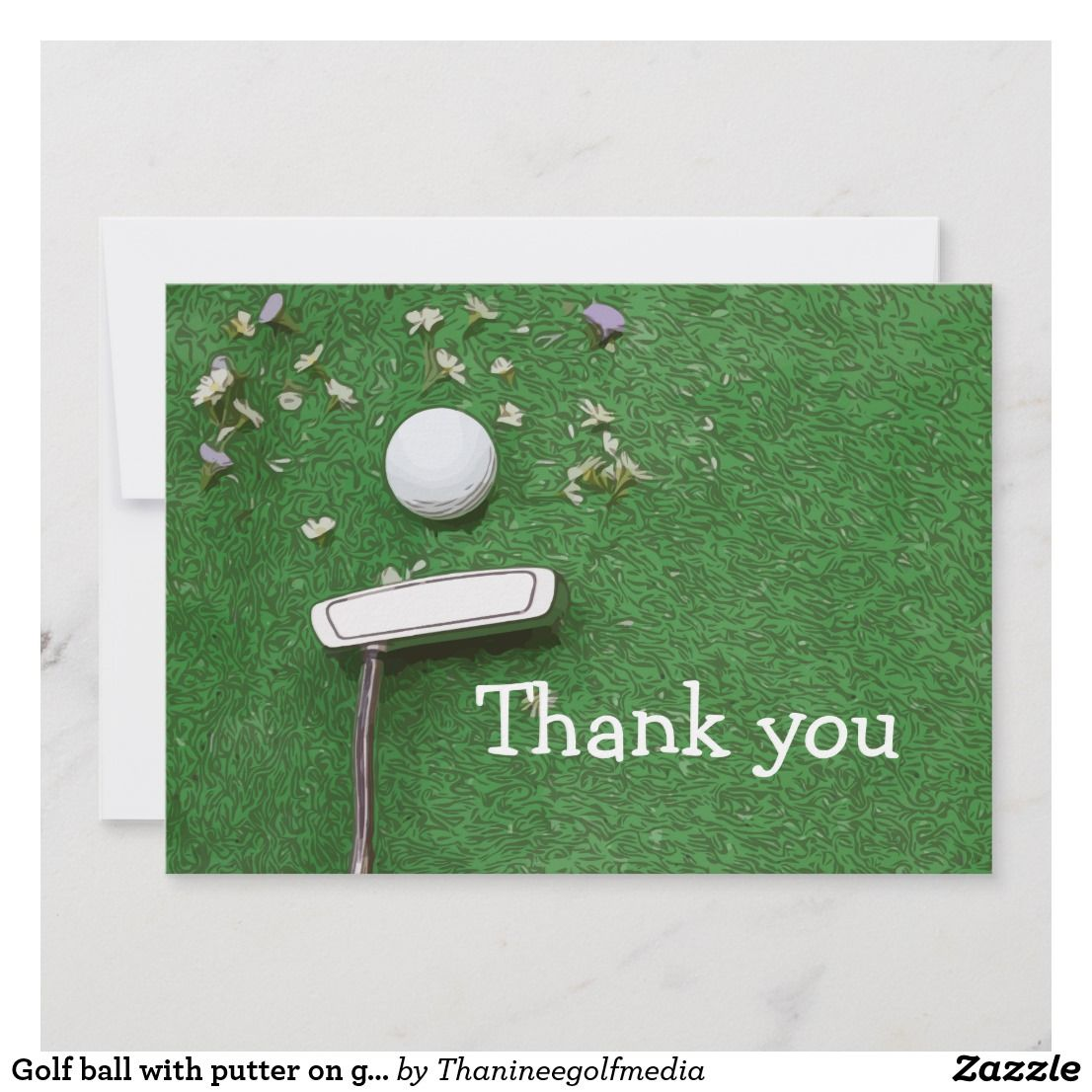 Golf Ball With Putter On Green Grass Thank You Card Golf Birthday Cards Thank You Cards Cards