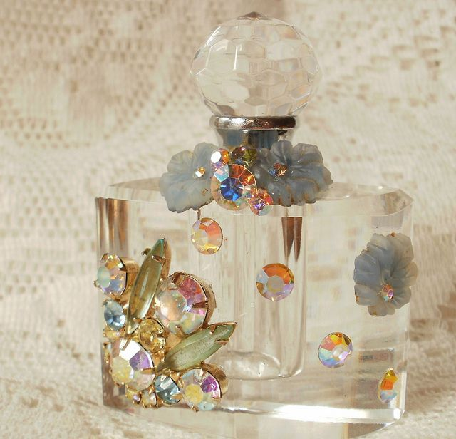 Iridescent Vintage Jewelry Bits Perfume Bottle