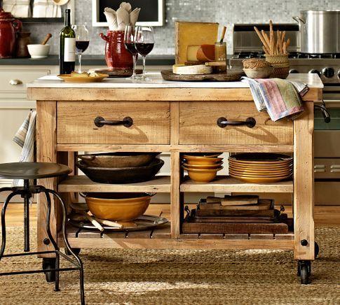 Hamilton Reclaimed Wood Marble Top Kitchen Island Kitchen Island On Wheels Portable Kitchen Island Marble Top Kitchen Island
